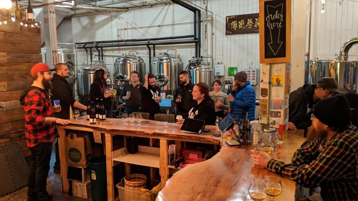 Group of People Tasting Beers in Providence, RI