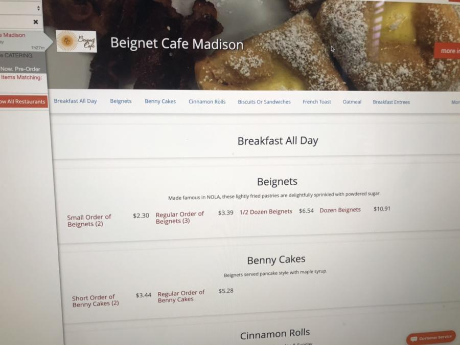 Online menu from Beignet Cafe in Madison, AL