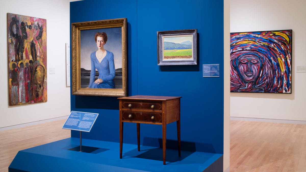 Desk on a blue Platform displayed at the Georgia Museum of Art