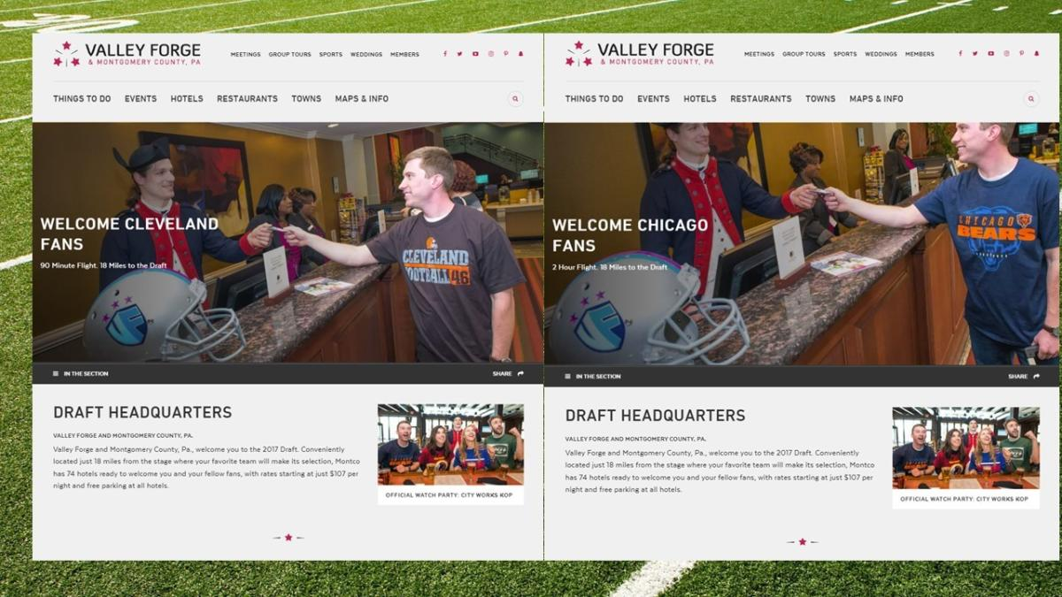 This side-by-side view of a landing page from the website of the Valley Forge Tourism & Convention Board (VFTCB) shows how geo-locating technology is helping position content to specific markets nationwide. A photo of the same model wearing different team jerseys is used to connect with fans from NFL Draft-centric cities, supplying them with individualized information about the appeal of the county for overnight stays related to the April event.