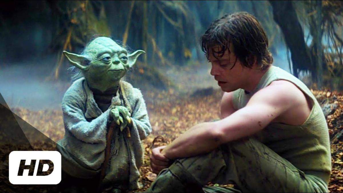 Yoda mentoring Luke Skywalker