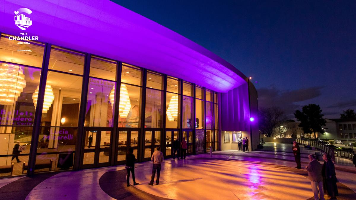 Chandler Center for the Arts at Evening - Virtual Background
