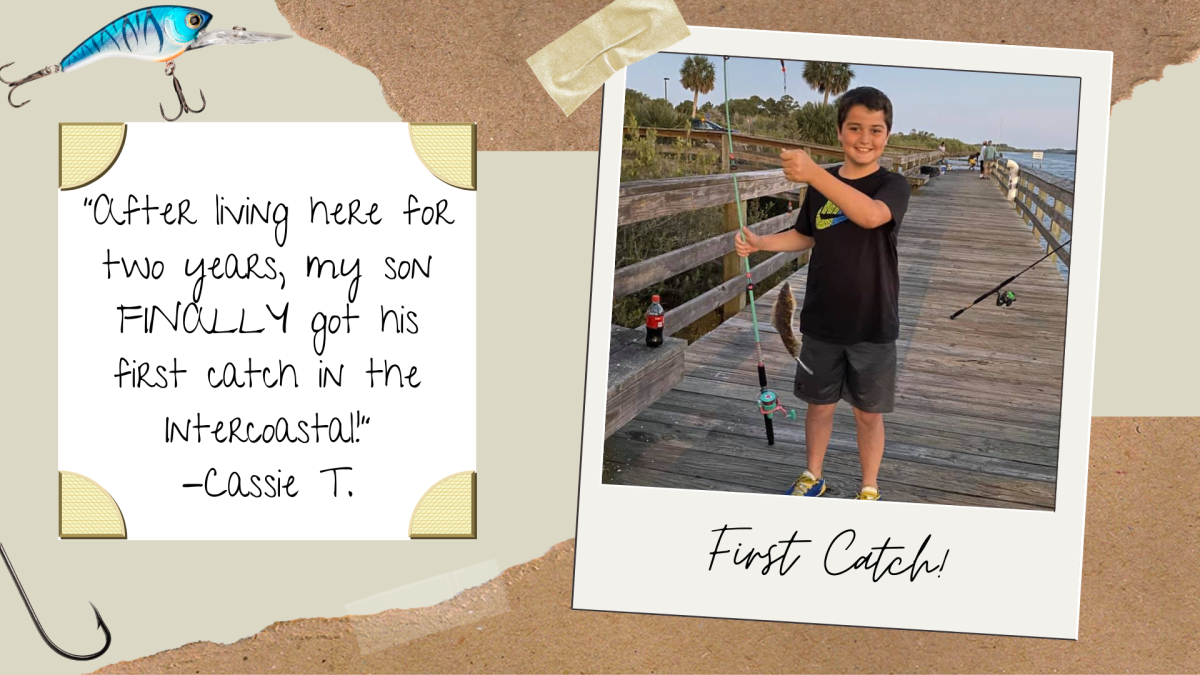 A boy holding up his first Intercostal catch in Palm Coast, FL