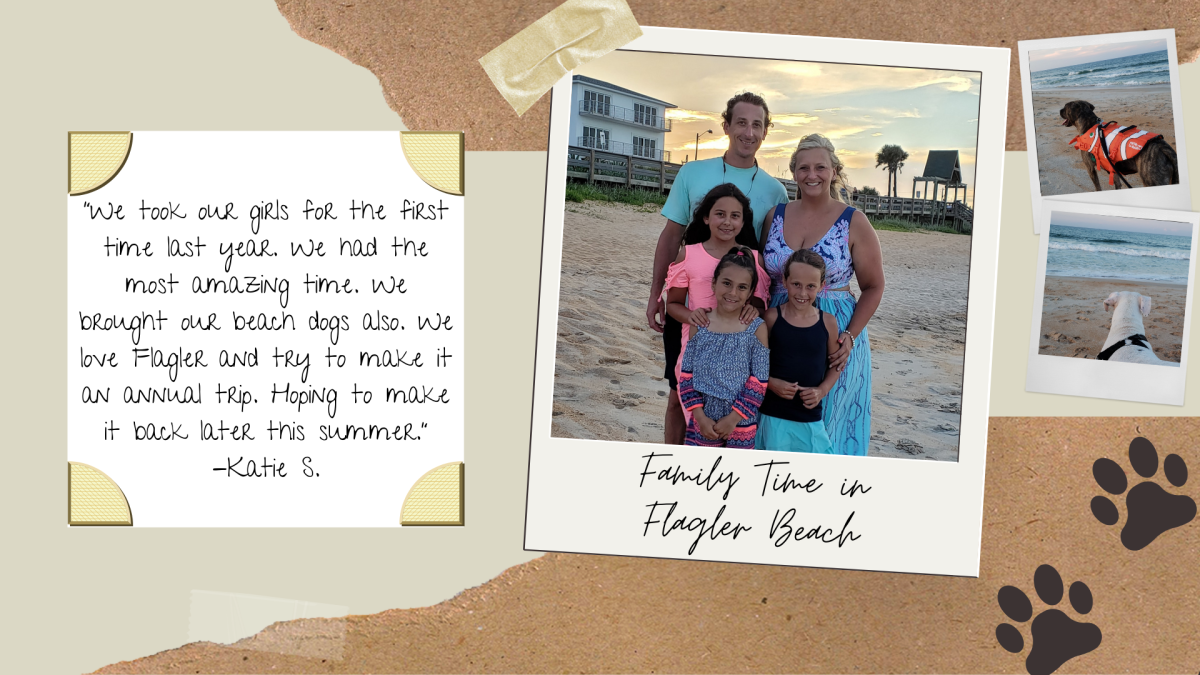 Picture collage of a family and dogs on the beach in Palm Coast, FL