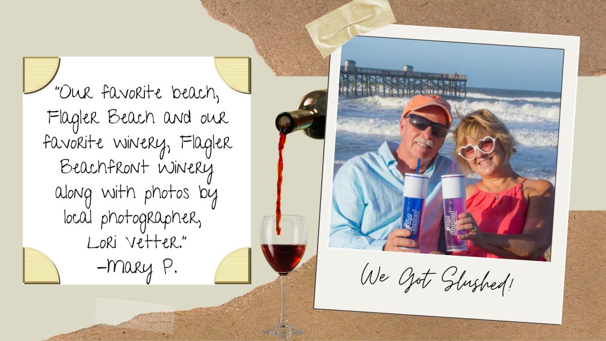 A couple holding up souvenir wine tumblers on Flagler Beach, FL