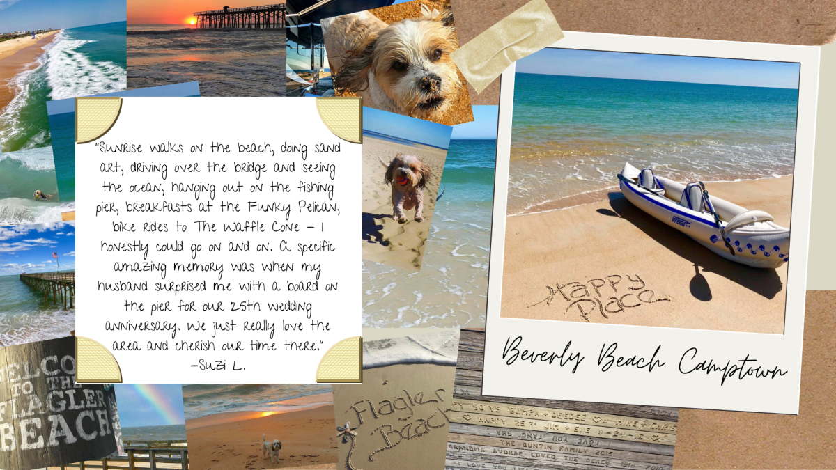 A picture collage of dogs and a canoe on Beverly Beach Camptown