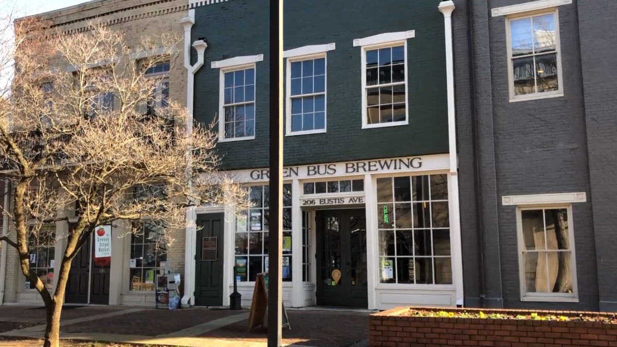 Exterior of Green Bus Brewing in Huntsville
