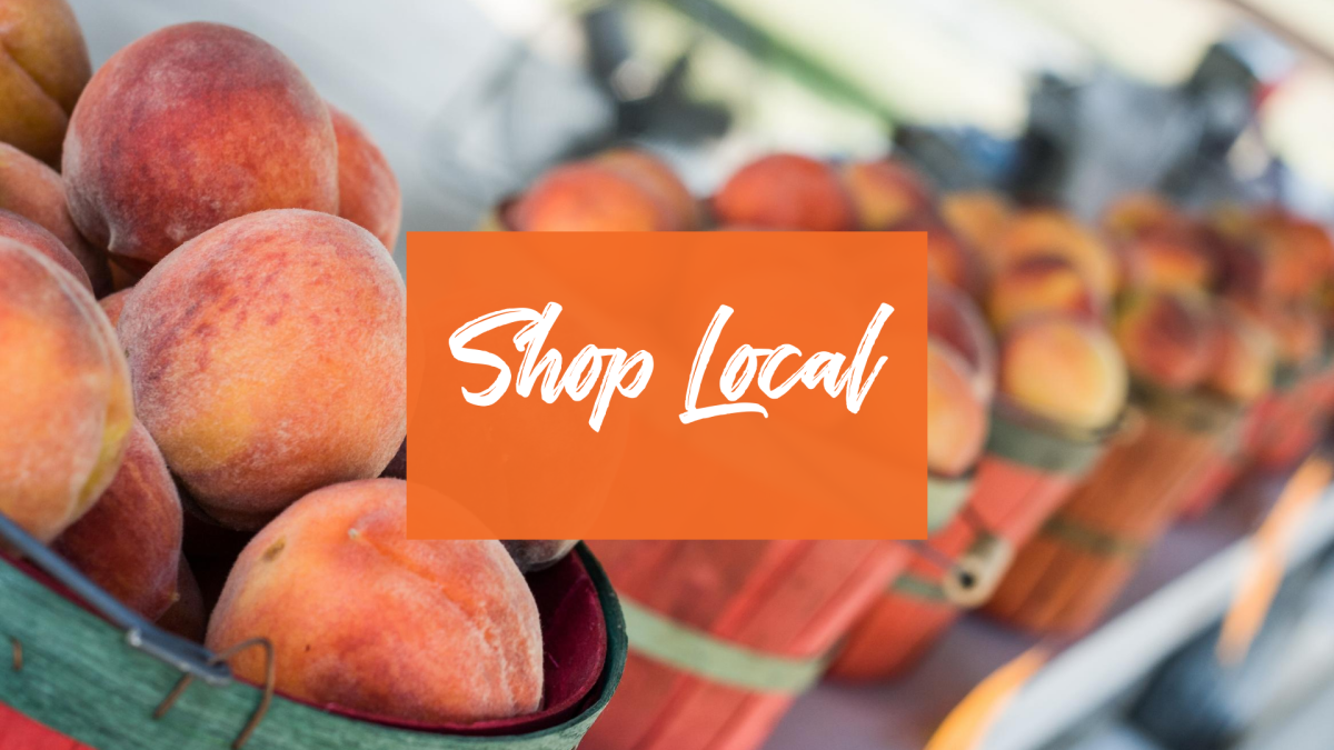 Shop Local on JoCo Grows Website, with a full basket of peaches.