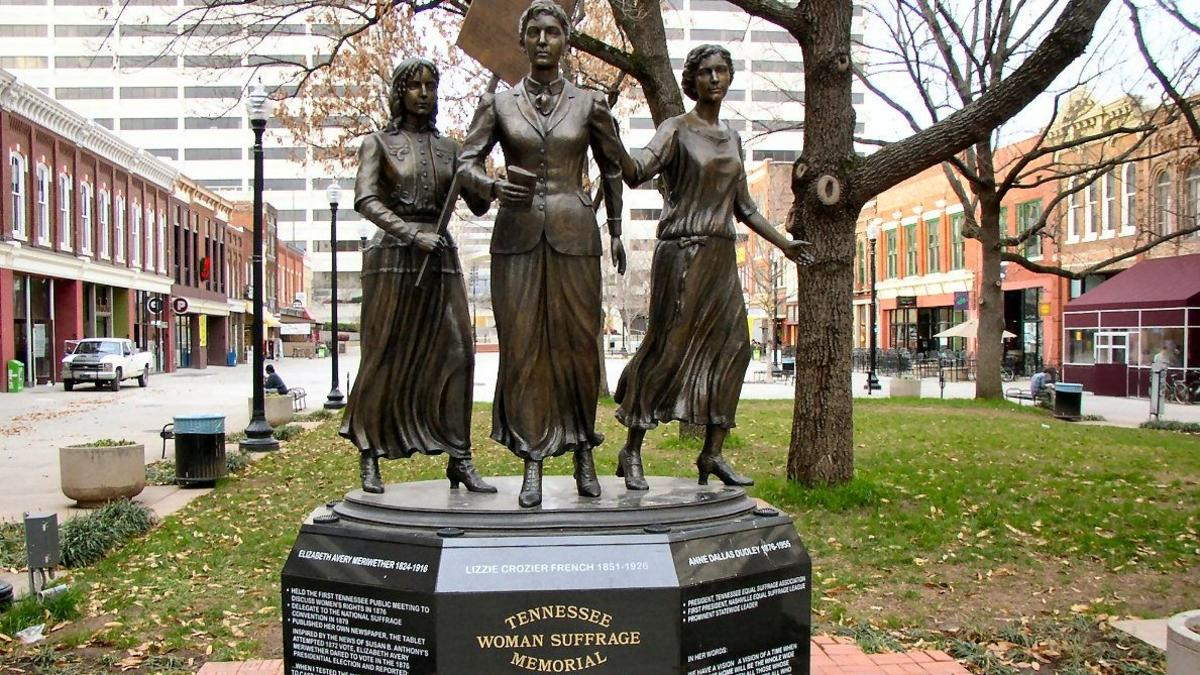 Tennessee Woman's Suffrage Memorial Statue of izzie Crozier French, Anne Dallas Dudley, and Elizabeth Avery Meriwether