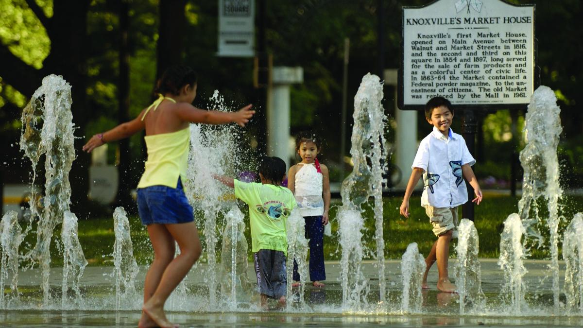 kids in fountain market square