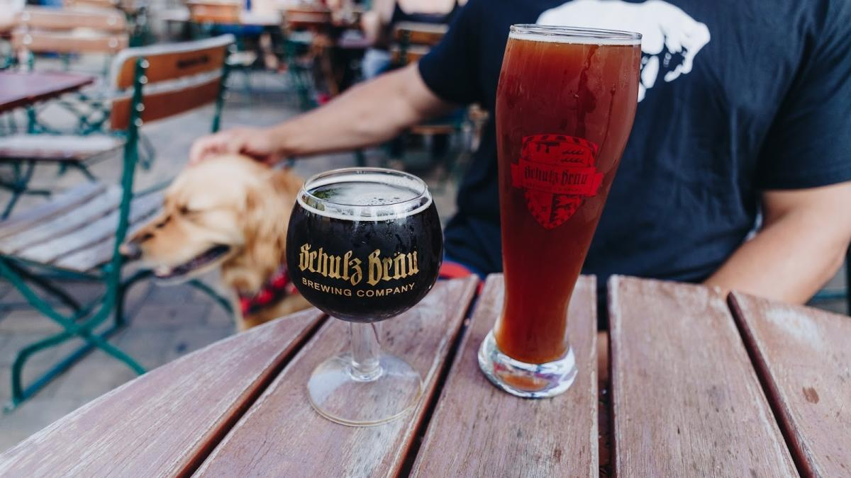 Golden Retriever and Beers at Shulz Brau Brewing