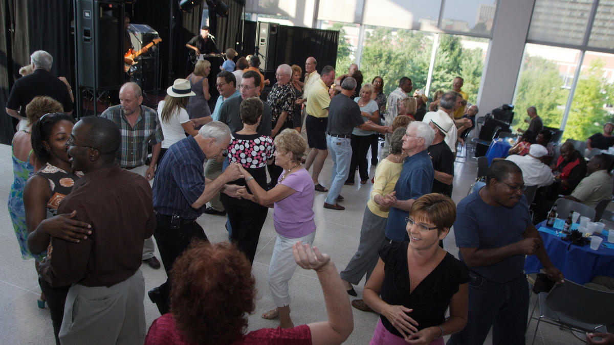 People dancing during Alive After Five Fall Series at Knoxville Museum of Art