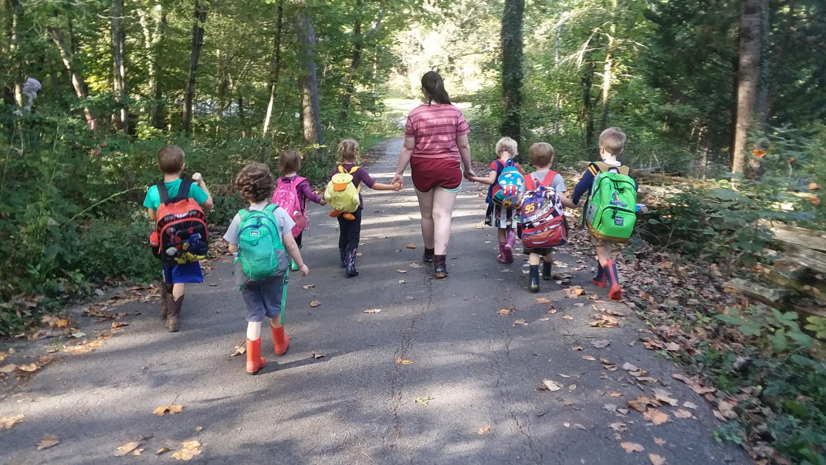​Kids with Backpacks on Greenway