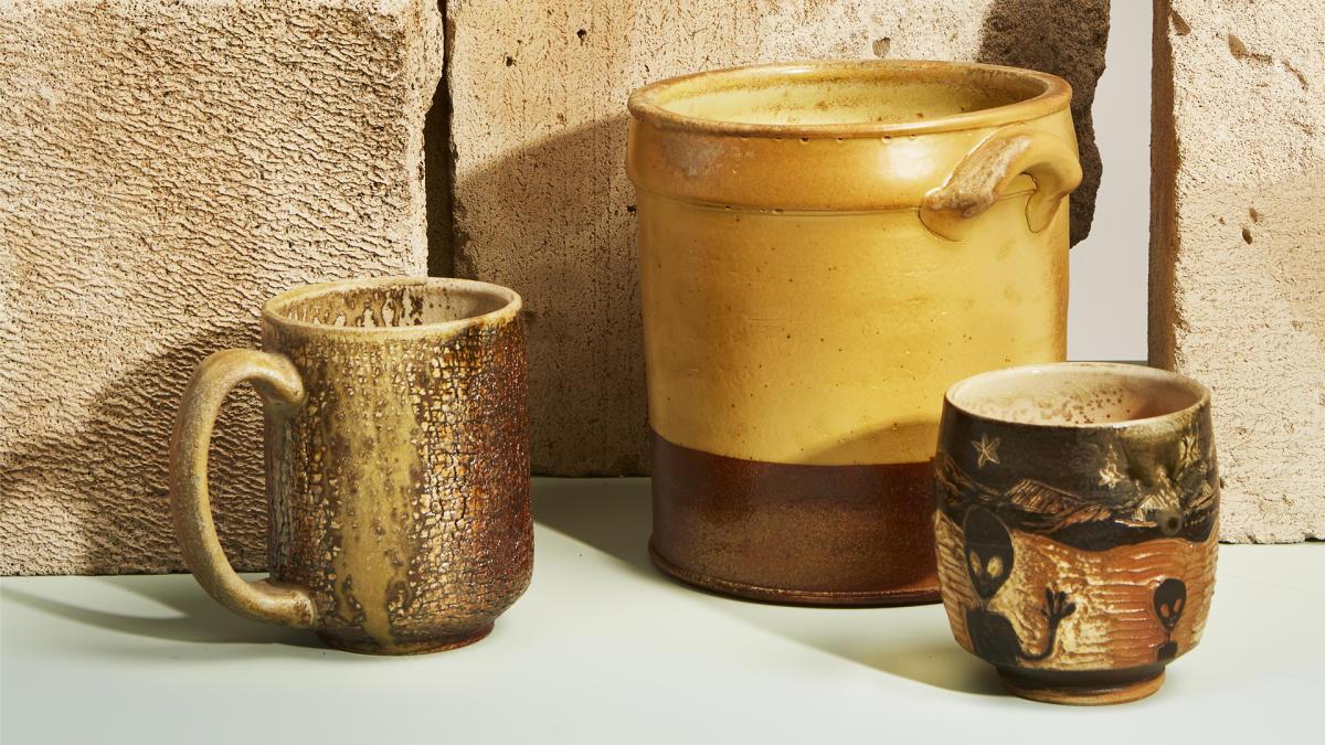 Textural mug, Utensil crock, and Alien Yunomi Earthfired Pottery