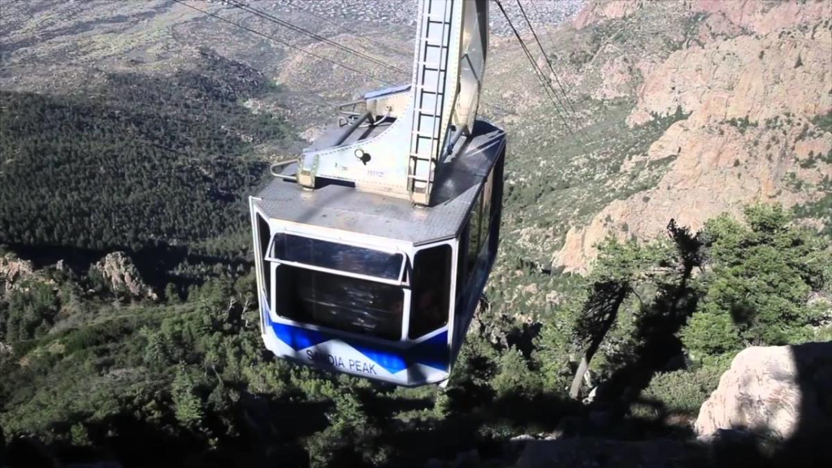 The Sandia Peak Tram moving up Sandia Peak in Albuquerque, NM