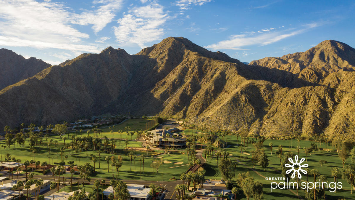 Golf courses and mountains landscape