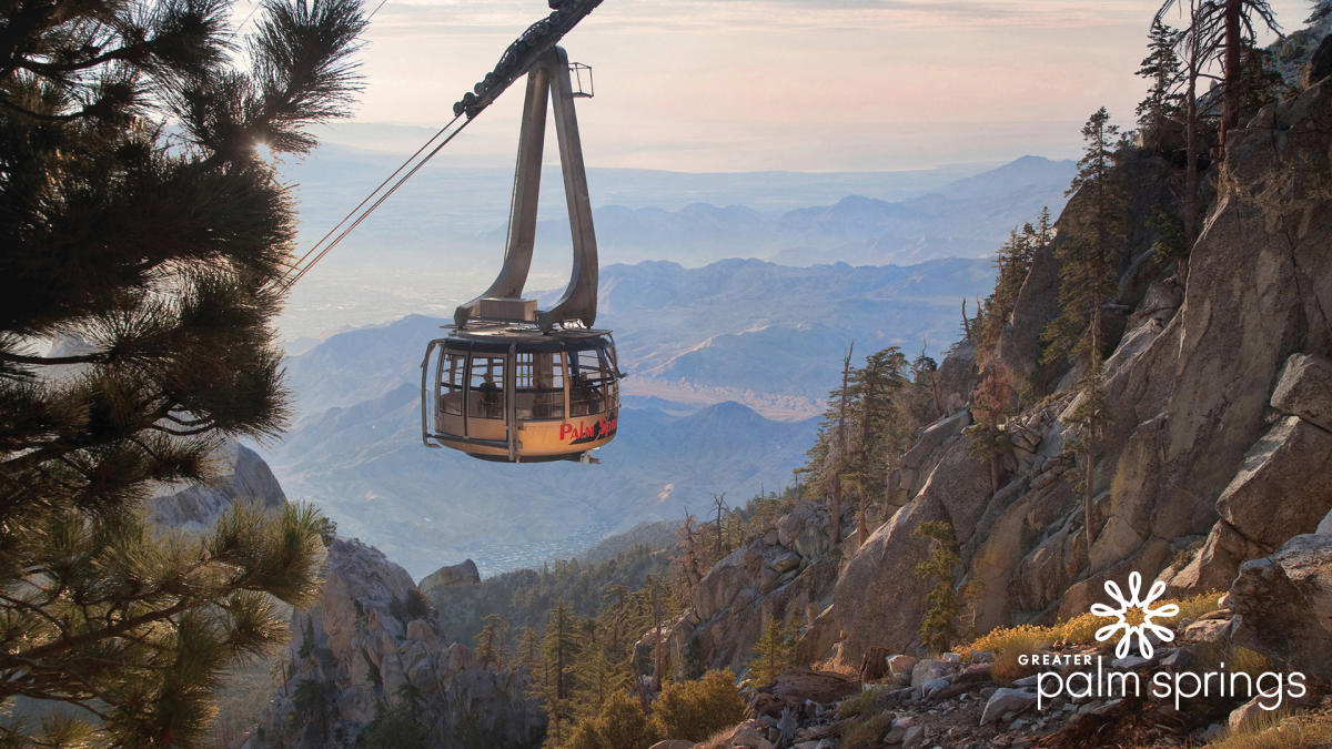 Palm Springs Aerial Tram climbing up mountainside
