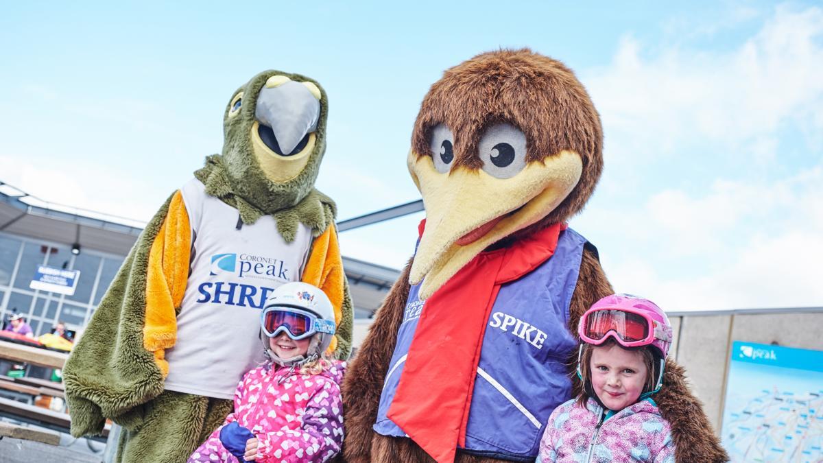 Shred & Spike Coronet Peak mascots
