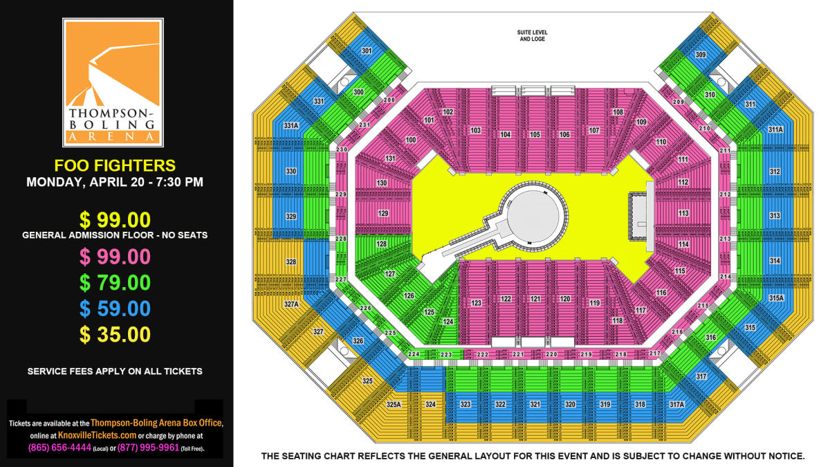 Foo Fighters Seat Map