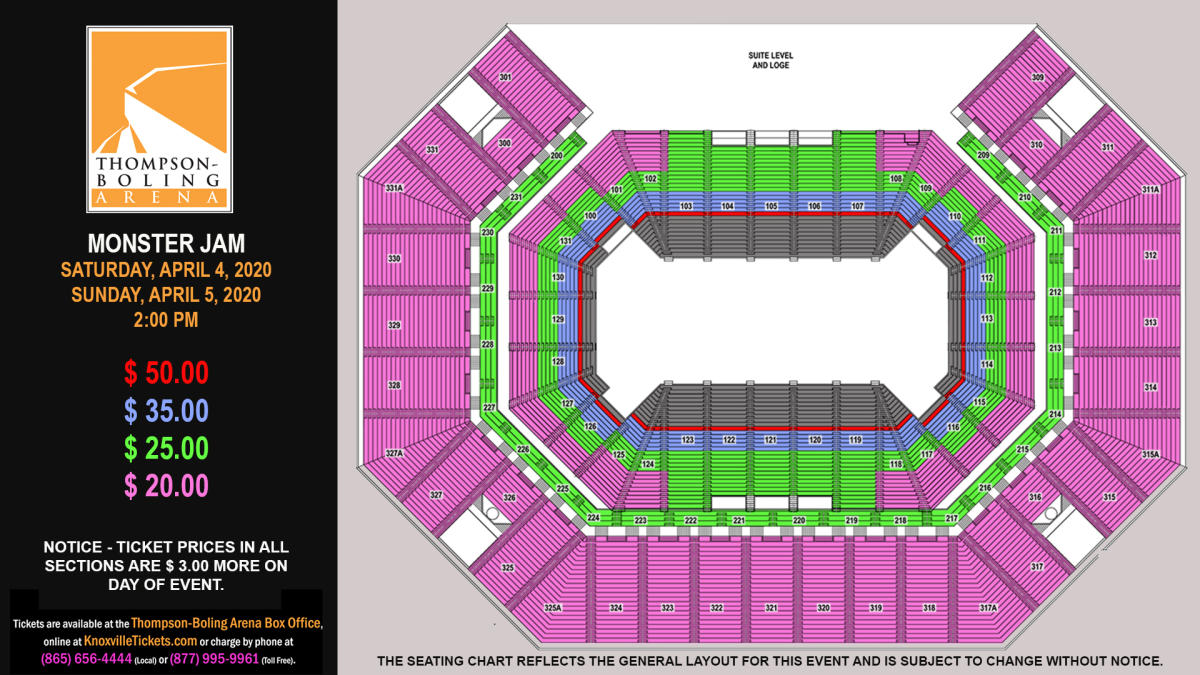 Monster Jam 2020 Seat Map
