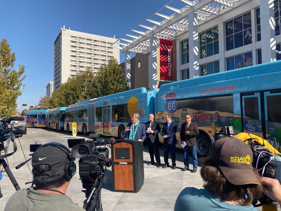 Mayor Tim Keller speaks at ART Bus service press conference