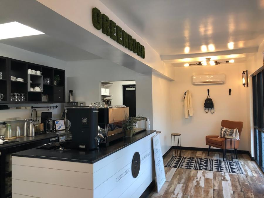 The Greenroom at The Camp is a coffee shop in Huntsville with a clean and modern design.