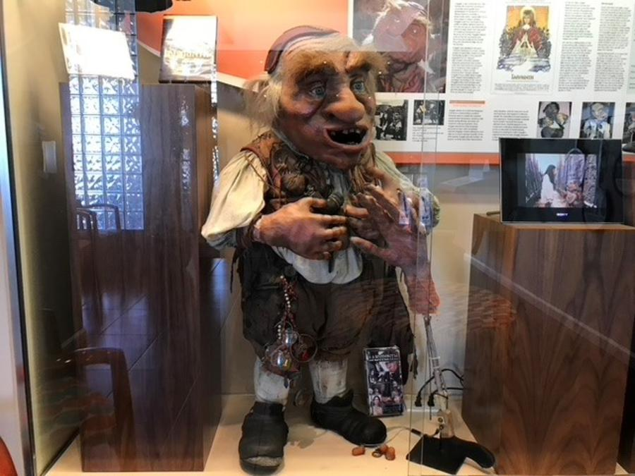 Hoggle from Labyrinth stands on display inside the Unclaimed Baggage Center.