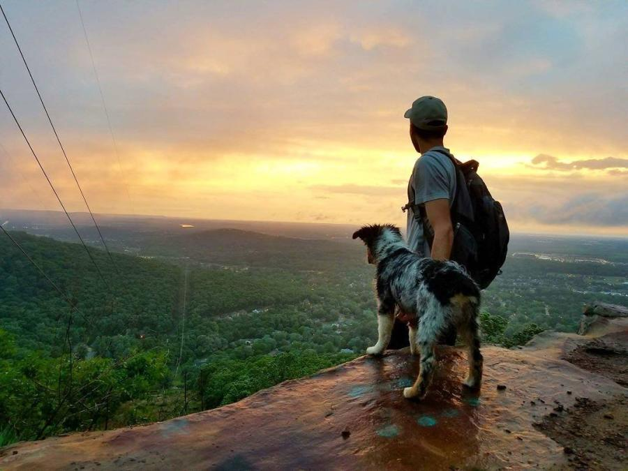 A hiker enjoys the view of Huntsville, AL with his Australian Sheppard puppy.
