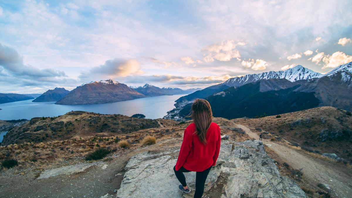 Queenstown Hill sunset hike in spring