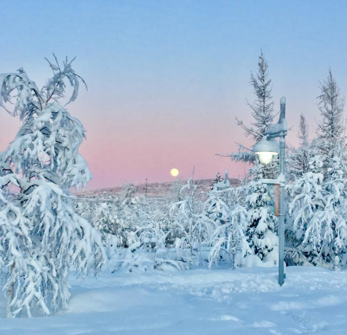 A full moon rising over a winter scene with a lamp post in foreground
