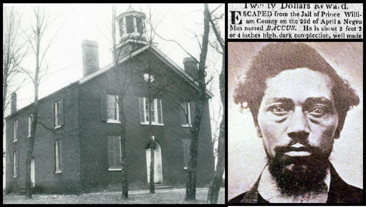 2 black and white images one of the exterior of Brentsville Courthouse the other of a wanted poster for an escaped slave