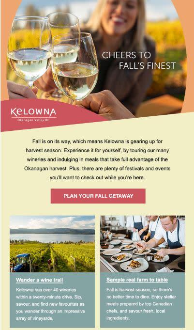 Photo of Tourism Kelowna e-mail marketing advertising sample