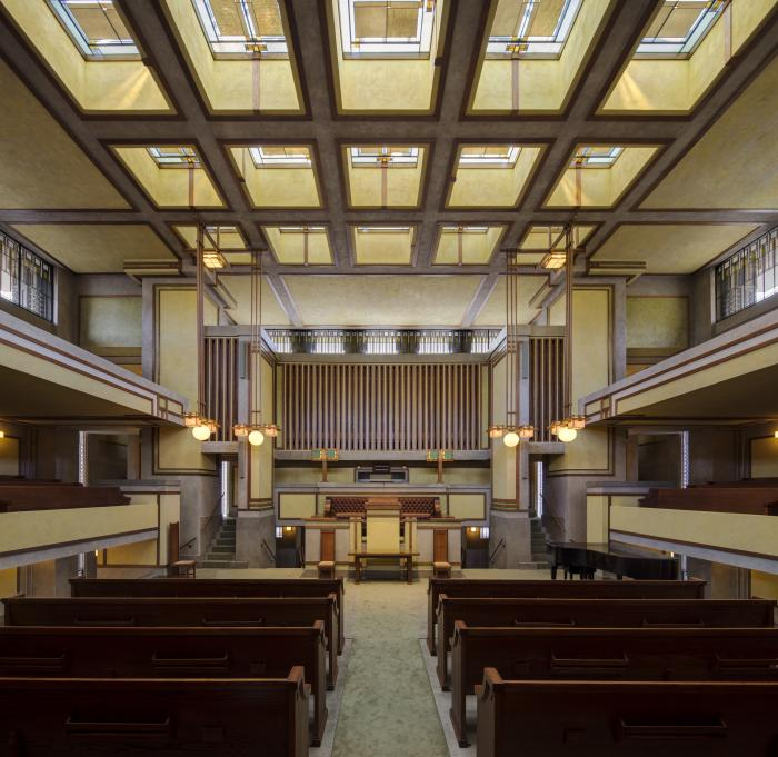 Unity Temple interior, designed by Wright