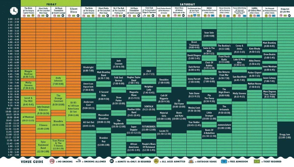 Bragg Jam Schedule