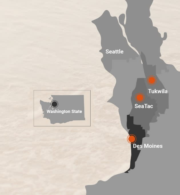 Map of Seattle Southside in reference to Seattle and Washington State