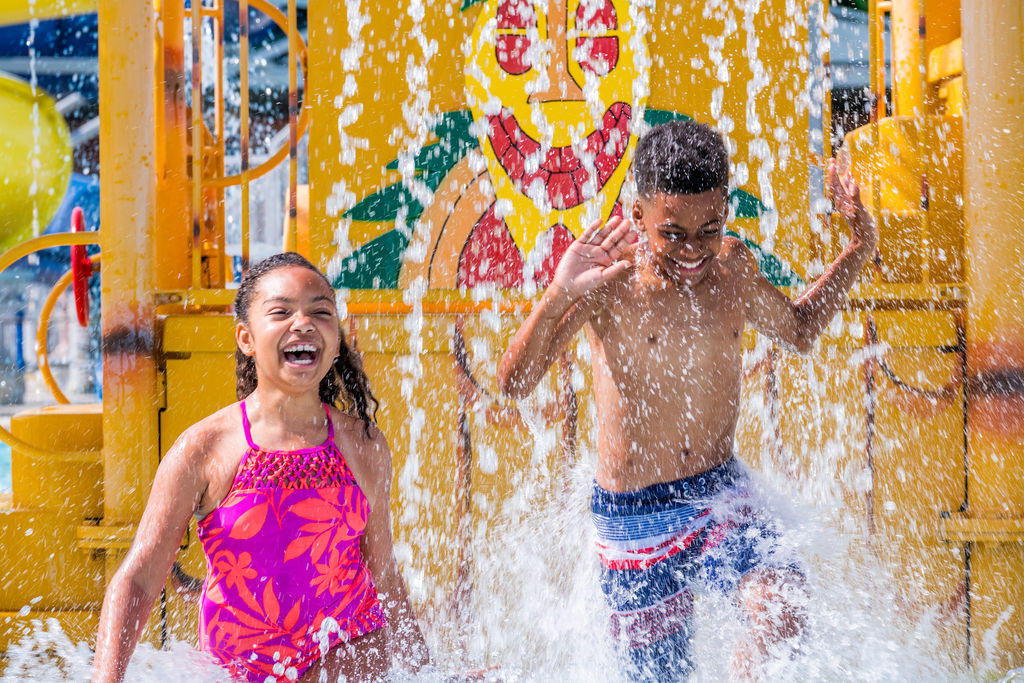 Kids Playing at Splash Island