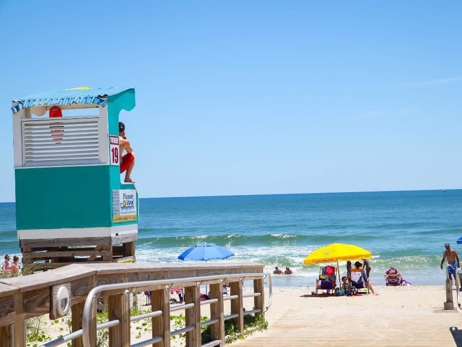 Collection Carolina Beach lifeguard stand and beach access