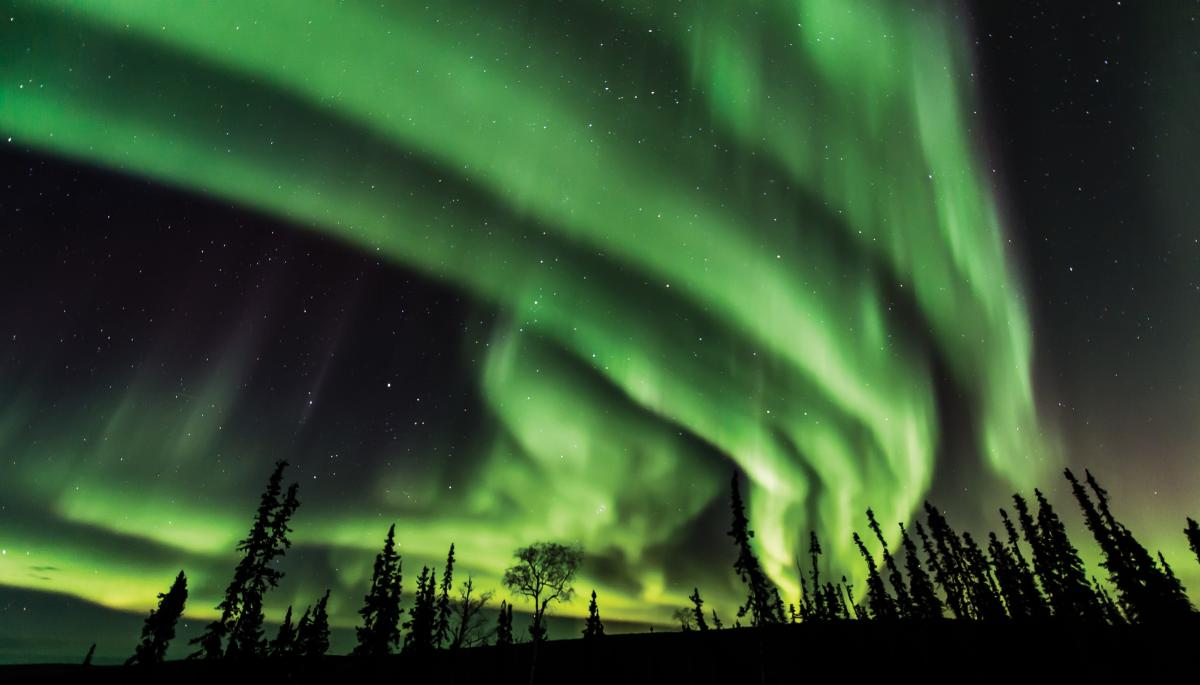 Photo of aurora borealis taken just outside of Fairbanks, Alaska in September, 2017. Photo Credit: Photo courtesy of Frank Stelges-Aurora Bear Photography School