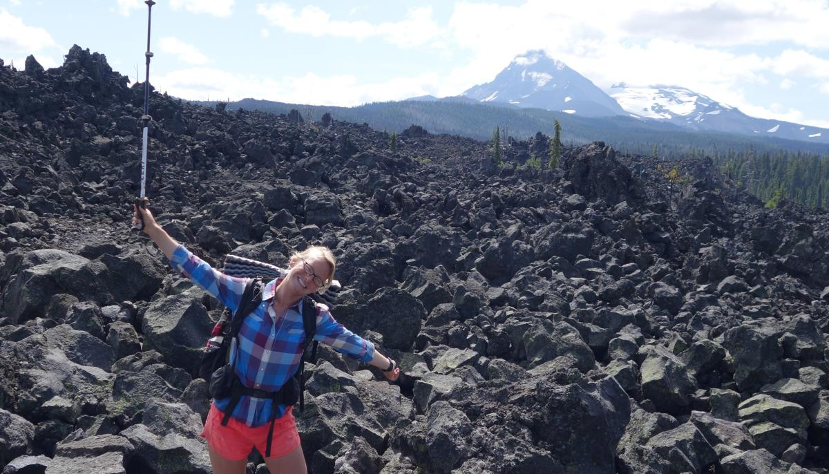 Julia in the lava fields near Hwy 242