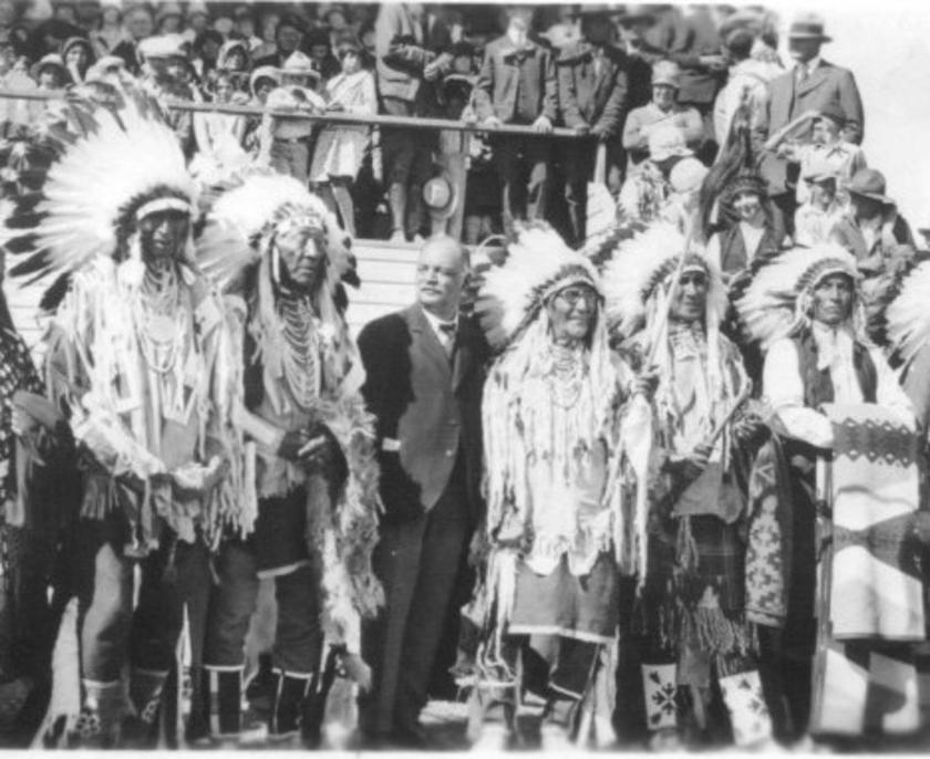Charles Curtis with Native Americans