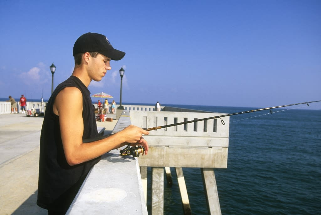 Fishing off Johnnie Mercer's Pier