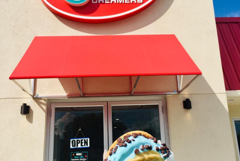 Jubie's Creamery Ice Cream Sandwich and Store Exterior