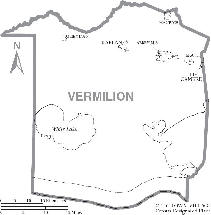 Map of Vermilion Parish, Louisiana With Municipal Labels