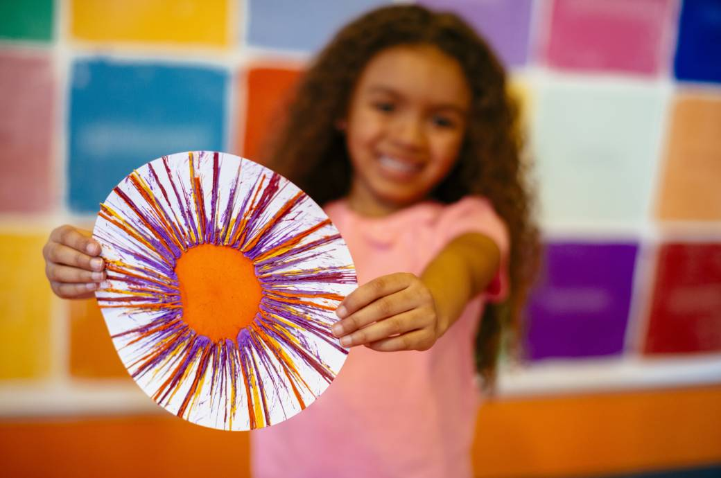 Spin Art with Melted Wax at Crayola Experience in Chandler, AZ