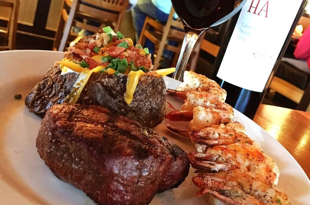 Charleston's Grilled Prime Top Sirloin with Grilled Shrimp