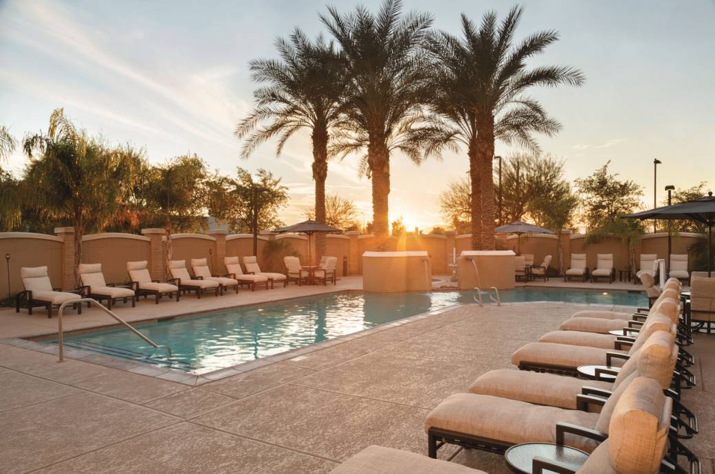 Hilton Phoenix Chandler Pool and Sunset