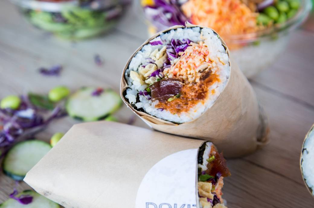 Wrapped burrito at Pokitrition - Sushi Burritos & Poke