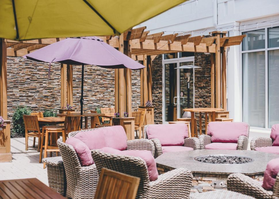 Outdoor patio seating with umbrellas