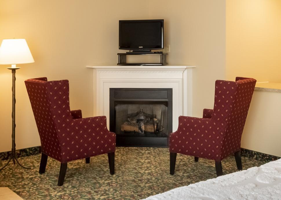 Fireplace inside Belhurst castle room