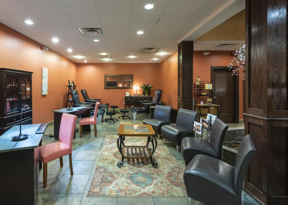 Cozy seating area inside the salon
